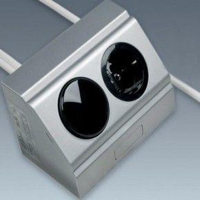Enchufe para rincón acabado aluminio más interruptor